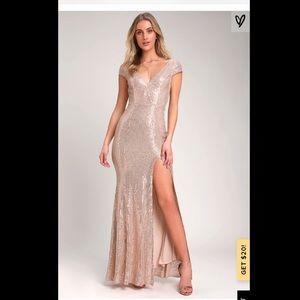 Lulu's Catching Compliments Rose Gold Sequin Dress